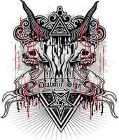 gotisches Zeichen mit Ziegenschädel und Auge der Vorsehung, Grunge Vintage Design vektor