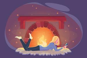 flicka läst bok på vintern vid eldstaden. kallt väder illustration. modernt utbildningskoncept. mysig vinter modern design. ung kvinna som studerar vid eldstaden i platt stil. koppla av, mysig kväll, hemkomfort vektor