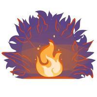 Lagerfeuervektor flache Karikaturillustration. Feuerflamme im Wald in der Nacht. Lagerfeuerlicht-Banneraufkleber lokalisiert auf weißem Hintergrund. Sommer Kamin Abend Silhouette Ikone. Lauffeuerzeichen Emblem. vektor