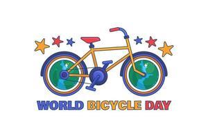 världens cykeldagsillustration vektor