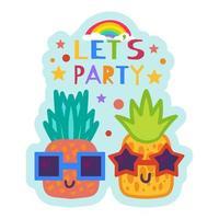 sommarfest klistermärke, söt ananas i solglasögon vektor