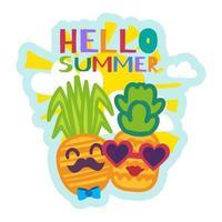 hej sommar klistermärke med söta tecknade ananas vektor