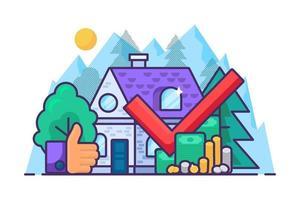 Immobilienkaufkonzept. Investition und Geld vektor