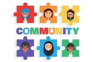gemischte Rassen Menschen Männer und Frauen vielfältige Gemeinschaft vektor