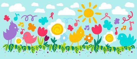 flache Vektorillustration der Blumen und der Vögel vektor