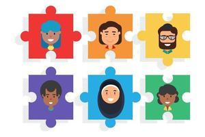 mångsidigt team på pussel, mångfald och lagarbete vektor