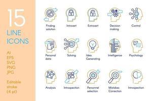 mental aktivitet färg linjära ikoner set vektor