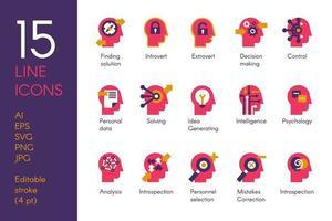 mänskligt sinne bearbetar platt vektor ikoner set