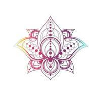 lotusblomma med geometrisk mönstervektor linjär illustration vektor