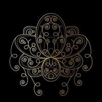 Lotusblume mit geometrischer goldener abstrakter Verzierungslinearillustration vektor