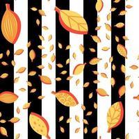 nahtloses Vektormuster der orange stilisierten Blätterkarikatur vektor