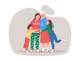 familj kram på jul vektor