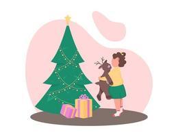 Mädchen mit Weihnachtsbaum vektor