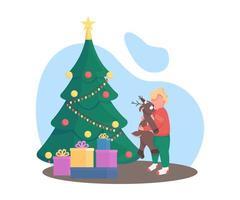Kind mit Weihnachtsbaum vektor