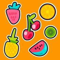 frukt doodle färg klistermärken set vektor