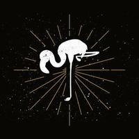 rosa Flamingo Silhouette Abzeichen vektor