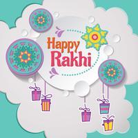 Glückliche Rakhi Karte mit Papierschnitt-Art vektor