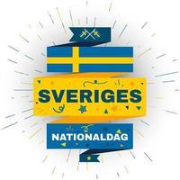 Sveriges nationella dag. oberoende semesterkort vektor