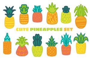mogen ananas handritad vektorillustrationer set vektor