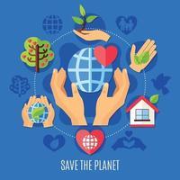 Speichern Sie die Wohltätigkeitskomposition des Planeten vektor