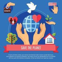 Planetenspendenkonzept retten vektor