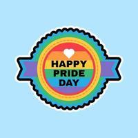 Happy Pride Day Aufkleber lgbt Farbhintergrund vektor