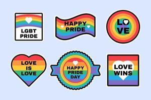 Stolz lgbtq Etiketten in Regenbogenfahne Farben gesetzt vektor