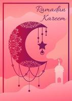 Ramadan Kareem Poster mit Halbmond hängen vektor