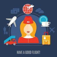 flygbolag flygservice platt affisch vektor