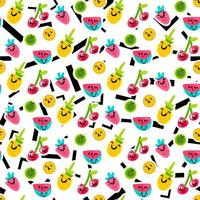 Früchte Emoji Farbe nahtloses Vektormuster vektor