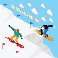 snowboard spår isometrisk komposition vektorillustration vektor