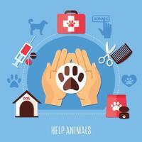 freiwillige Zusammensetzung des Tierschutzes vektor