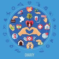 Wohltätigkeitsikonen runde Zusammensetzung vektor