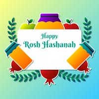 Gruß-Karten-Entwurf für jüdisches neues Jahr Rosh Hashanah Schablone vektor