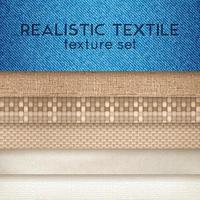 realistische horizontale Satzvektorillustration der Textiltextur vektor