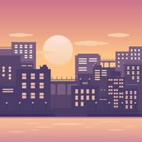 Stadtbild-Sonnenuntergang-Vektor vektor