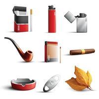 realistische Satzvektorillustration der Tabakprodukte vektor
