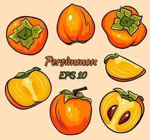 uppsättning ljusa vektorritningar av persimmon. vektor