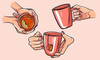 Satz Tassen Tee mit den Händen. vektor