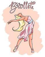 Ballerina in Spitzenschuhen in einem rosa Kleid vektor