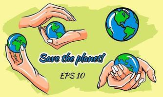 Rette die Erde, schütze unseren Planeten, Öko-Ökologie-Set vektor