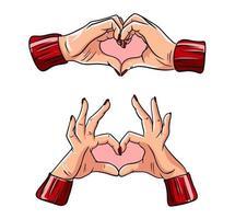 zwei Hände, die Herzzeichen machen. Liebe, romantisch. vektor