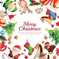 Frohe Weihnachten Cartoon Rahmen Vektor-Illustration vektor