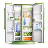 realistische Objektvektorillustration der Kühlschrankorganisation vektor