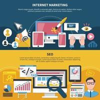internet marknadsföring seo horisontella banners vektorillustration vektor