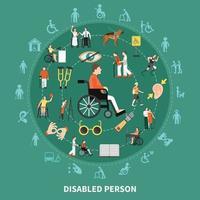 runde Zusammensetzung Vektorillustration der behinderten Person vektor