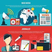 horizontale Banner für Massenmedien und Journalisten vektor