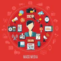 rundes Designkonzept für Massenmedien vektor