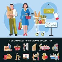 Supermarkt Menschen Ikonen Sammlung Vektor-Illustration vektor