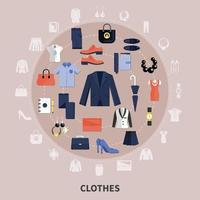 runde Kleidungszusammensetzung vektor